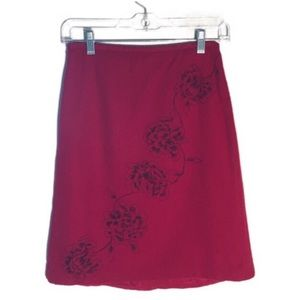 Loft Red Wool Embroidered Skirt Size 2P